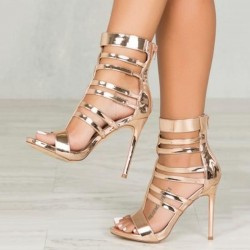 Gold Stiletto Heel Zipper Sandals