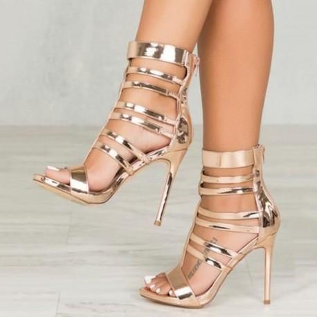 Gold Stiletto Heel Zipper Sandals