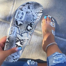 Snake Pattern Buckle Clear Flat Sandals
