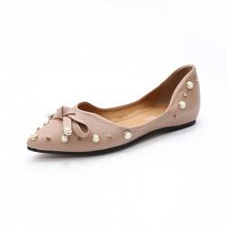 Sandales plates à bout pointu et perles rivet à boucle