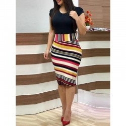 Knee-Length Round Neck Short Sleeve Womens Bodycon Dress