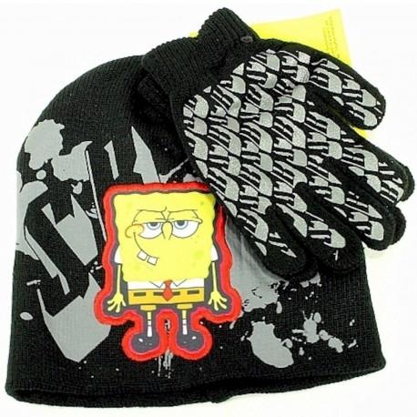 pongebob Squarepants Boy's Knit Beanie Hat & Glove Set Sz. 4 7 - Black - 4 7