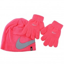 Nike 2 Piece Youth Knit Winter Beanie Hat & Glove Set - Pink - Youth 7/16